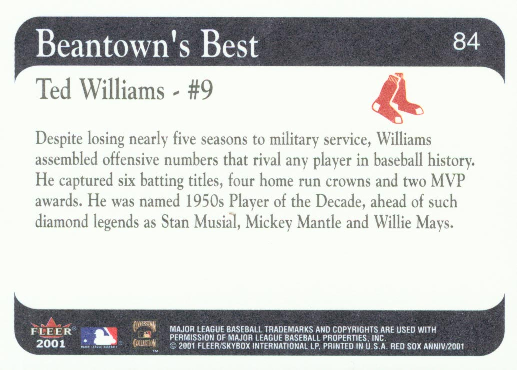 2001 Fleer Red Sox 100th #84 Ted Williams BB back image