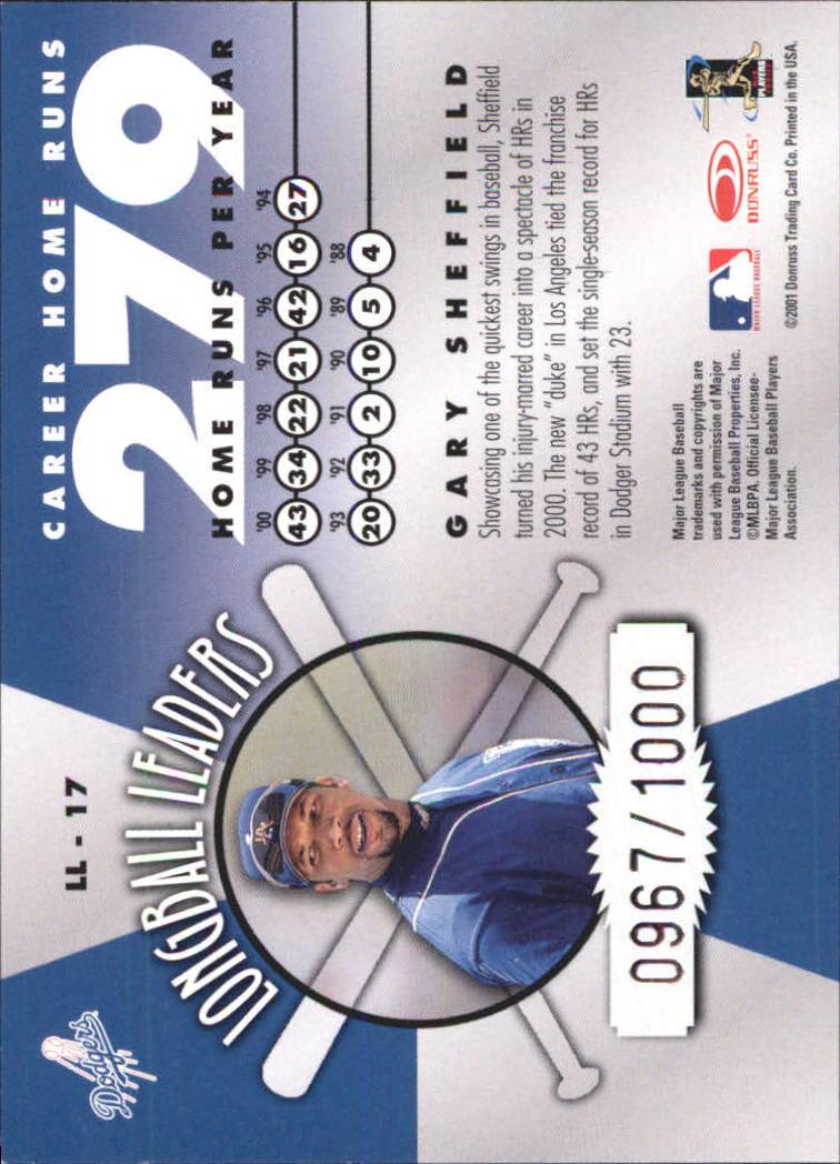 2001 Donruss Longball Leaders #LL17 Gary Sheffield back image