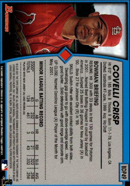 2001 Bowman Draft #BDP49 Covelli Crisp RC back image