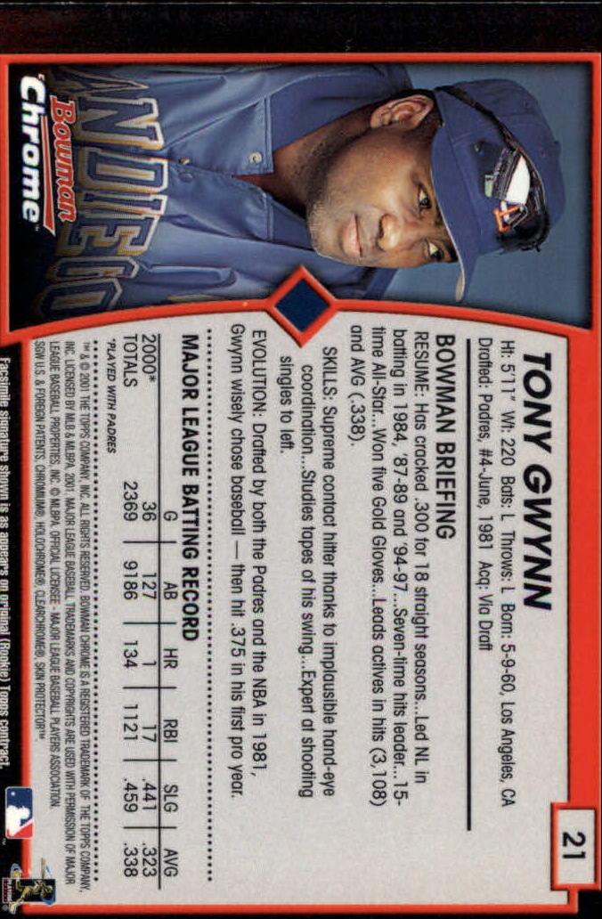 2001 Bowman Chrome #21 Tony Gwynn back image