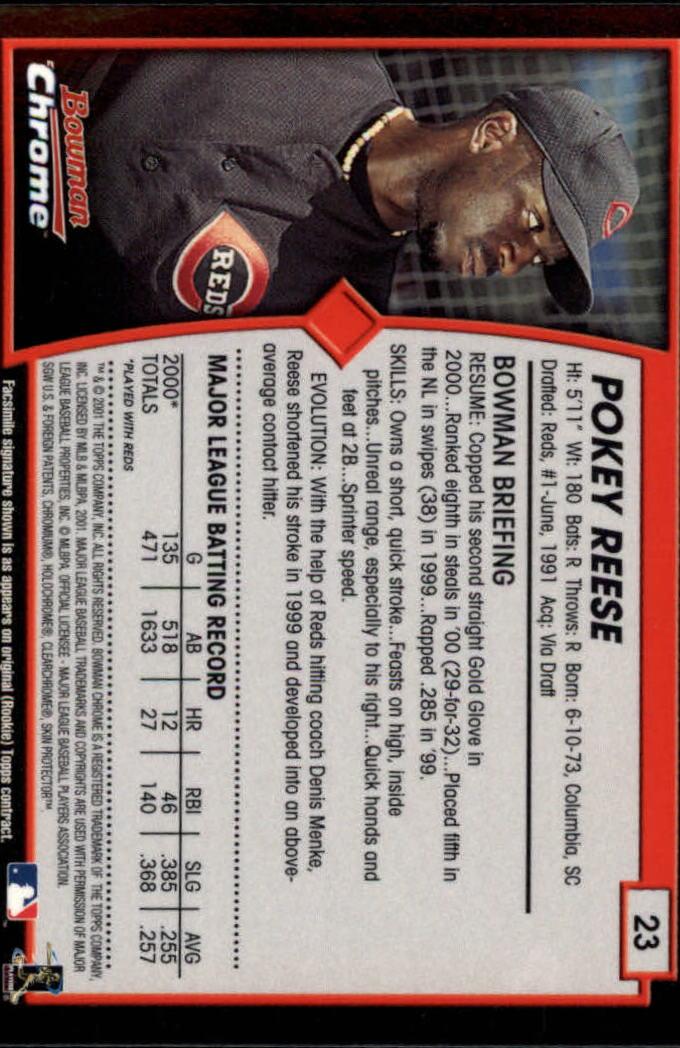 2001 Bowman Chrome #23 Pokey Reese back image