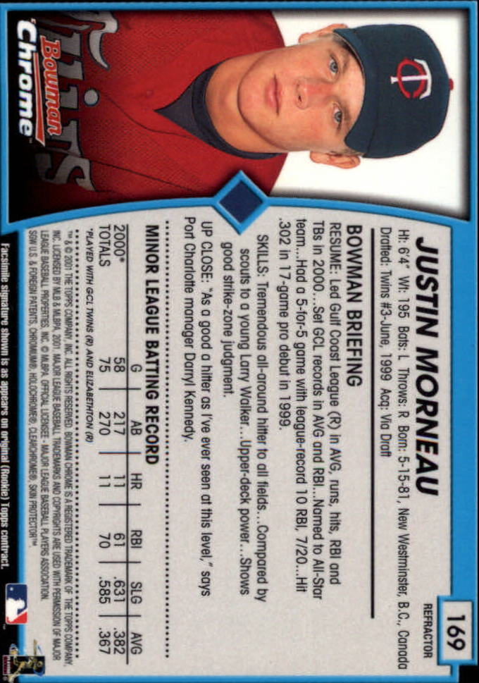 2001 Bowman Chrome #169 Justin Morneau RC back image