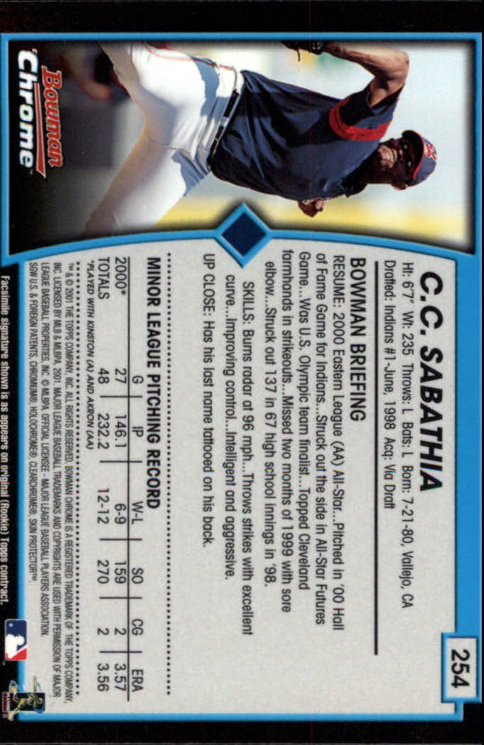 2001 Bowman Chrome #254 C.C. Sabathia back image