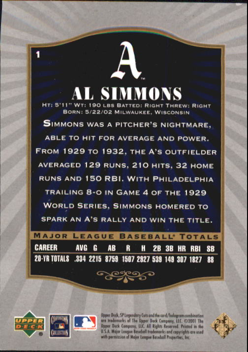 2001 SP Legendary Cuts #1 Al Simmons back image