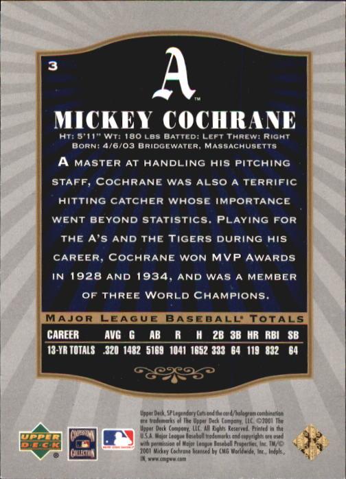 2001 SP Legendary Cuts #3 Mickey Cochrane back image