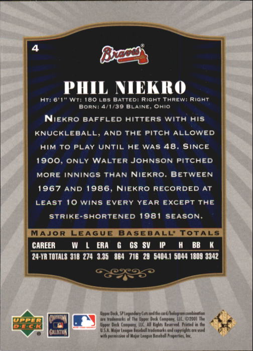 2001 SP Legendary Cuts #4 Phil Niekro back image