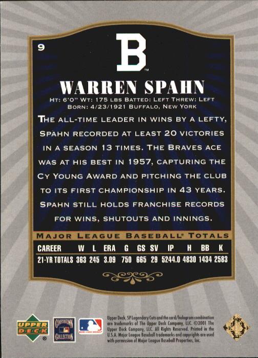 2001 SP Legendary Cuts #9 Warren Spahn back image