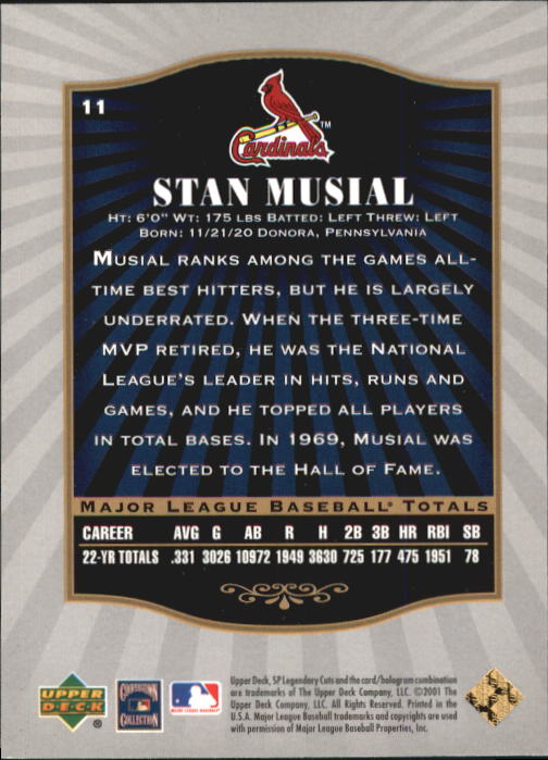 2001 SP Legendary Cuts #11 Stan Musial back image