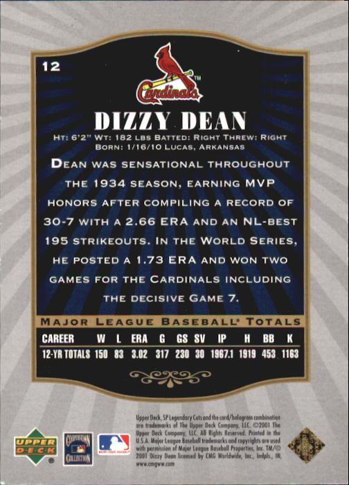 2001 SP Legendary Cuts #12 Dizzy Dean back image