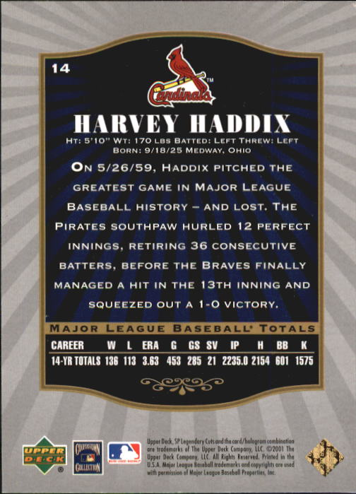 2001 SP Legendary Cuts #14 Harvey Haddix back image
