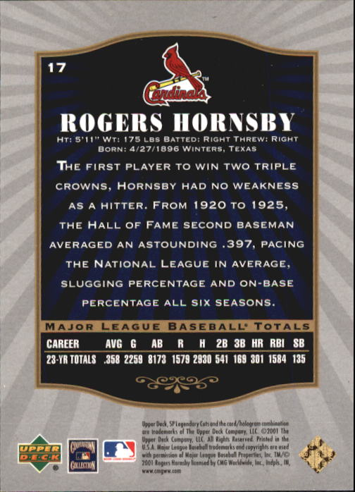 2001 SP Legendary Cuts #17 Rogers Hornsby back image