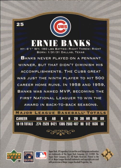 2001 SP Legendary Cuts #25 Ernie Banks back image