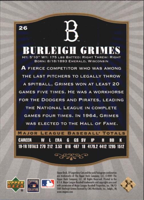 2001 SP Legendary Cuts #26 Burleigh Grimes back image