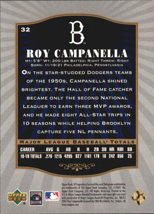 2001 SP Legendary Cuts #32 Roy Campanella back image