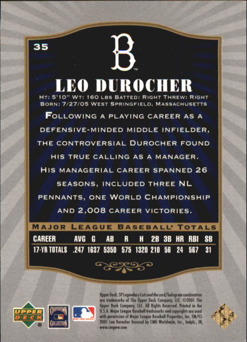 2001 SP Legendary Cuts #35 Leo Durocher back image