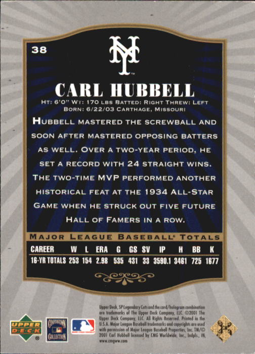 2001 SP Legendary Cuts #38 Carl Hubbell back image