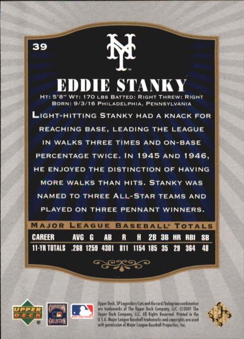 2001 SP Legendary Cuts #39 Eddie Stanky back image