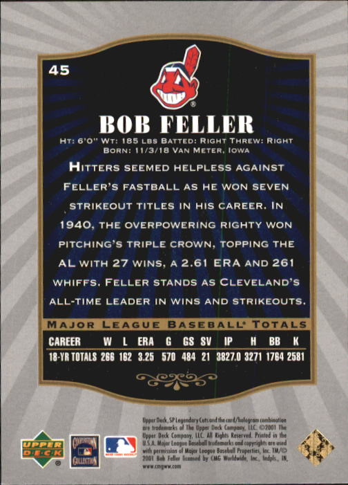2001 SP Legendary Cuts #45 Bob Feller back image