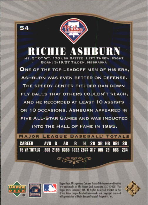 2001 SP Legendary Cuts #54 Richie Ashburn back image