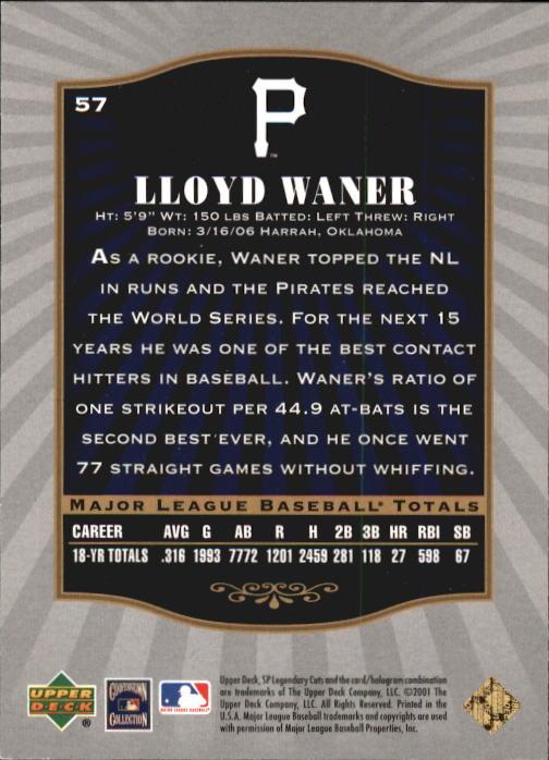 2001 SP Legendary Cuts #57 Lloyd Waner back image
