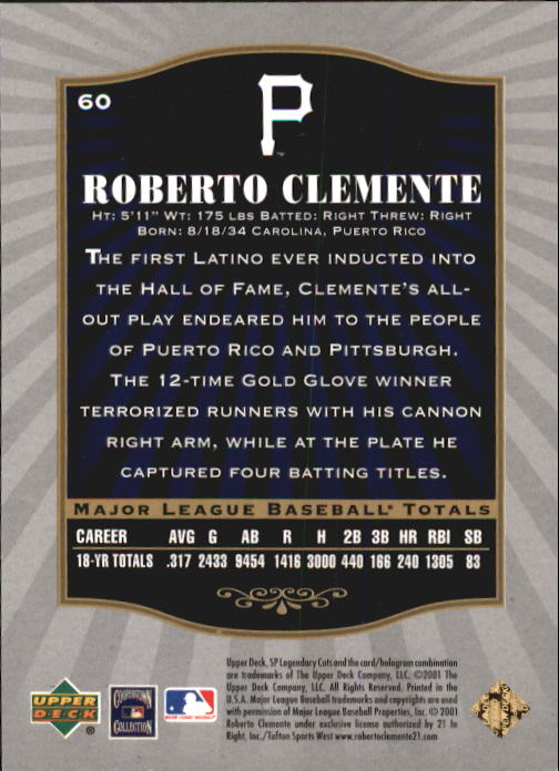 2001 SP Legendary Cuts #60 Roberto Clemente back image