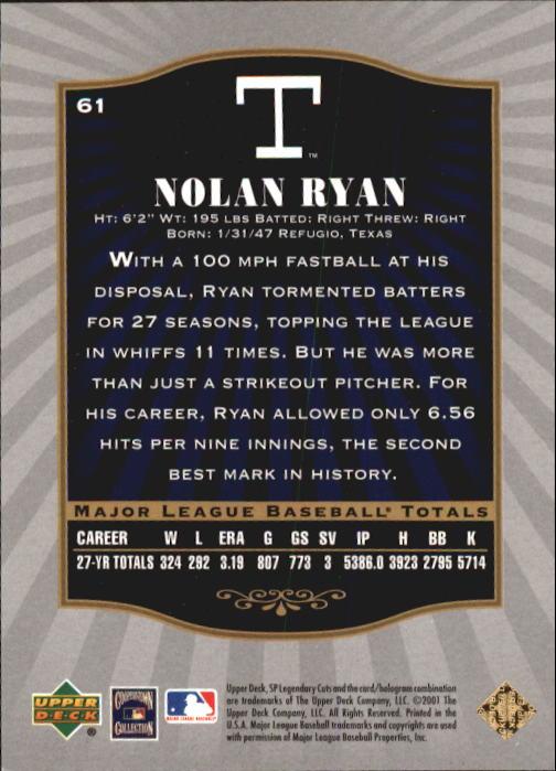 2001 SP Legendary Cuts #61 Nolan Ryan back image