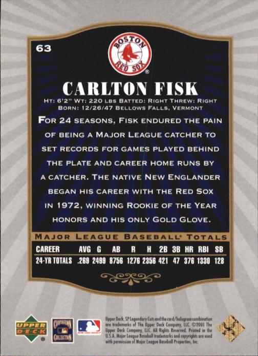 2001 SP Legendary Cuts #63 Carlton Fisk back image