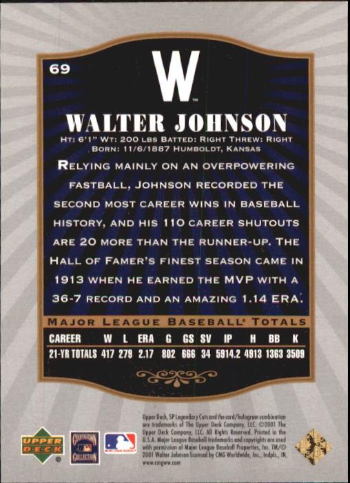 2001 SP Legendary Cuts #69 Walter Johnson back image