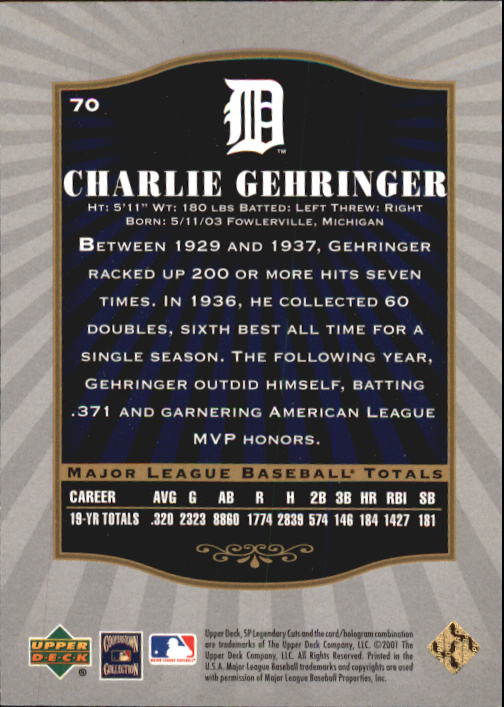 2001 SP Legendary Cuts #70 Charlie Gehringer back image