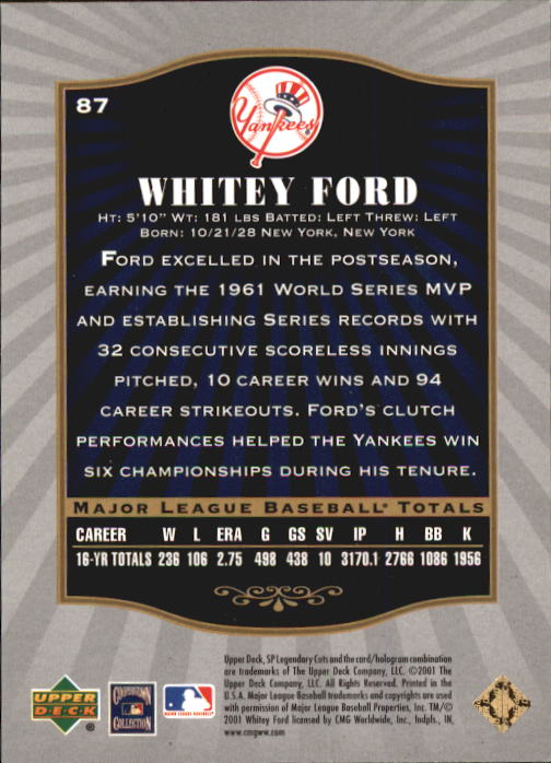 2001 SP Legendary Cuts #87 Whitey Ford back image