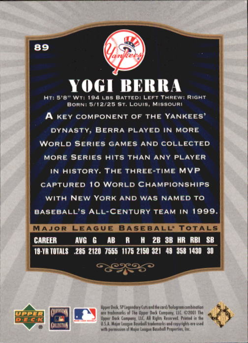 2001 SP Legendary Cuts #89 Yogi Berra back image