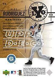 2001 SP Game Bat Edition Lumber Yard #Y4 Alex Rodriguez back image