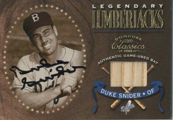 2001 Donruss Classics Legendary Lumberjacks Autographs #LL28 Duke Snider