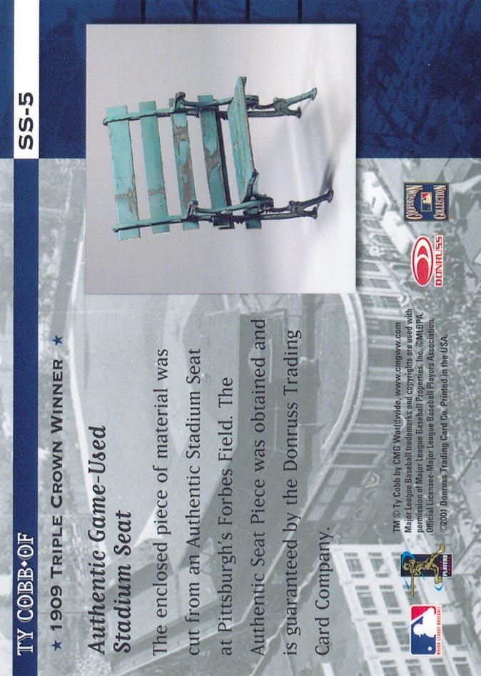2001 Donruss Classics Stadium Stars #SS5 Ty Cobb back image