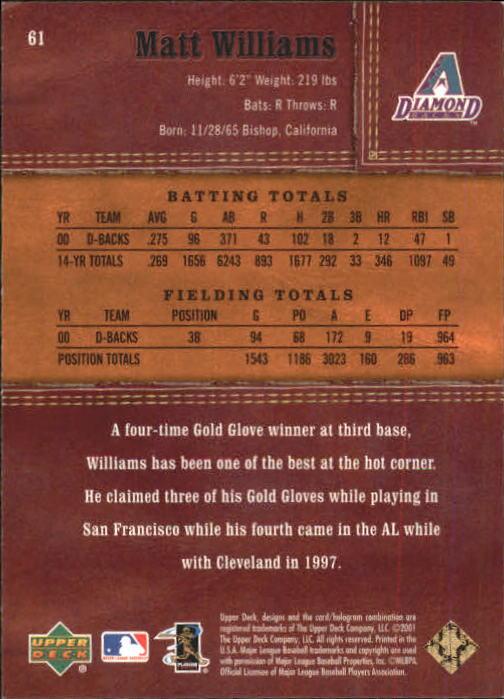 2001 Upper Deck Gold Glove #61 Matt Williams back image