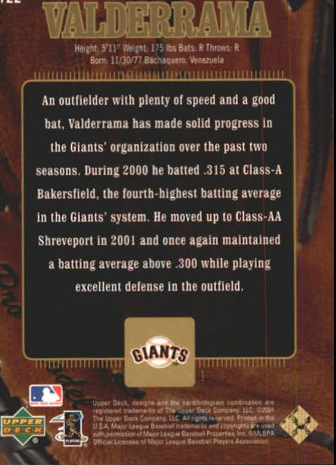 2001 Upper Deck Gold Glove #122 Carlos Valderrama GD RC back image