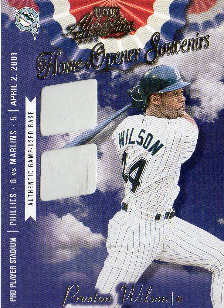 2001 Absolute Memorabilia Home Opener Souvenirs Double #OD15 Preston Wilson
