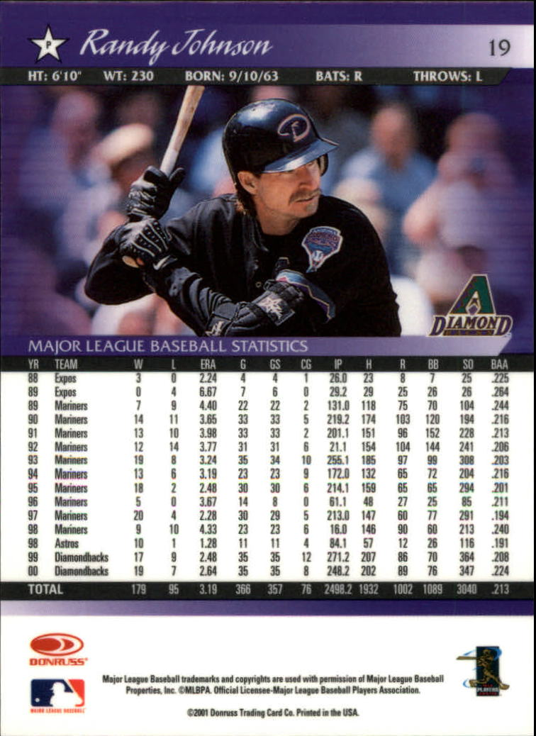2001 Donruss Baseball's Best Bronze #19 Randy Johnson back image