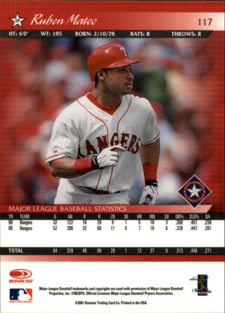 2001 Donruss Baseball's Best Bronze #117 Ruben Mateo back image