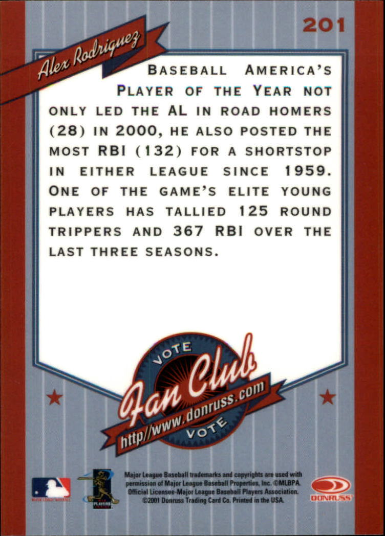 2001 Donruss Baseball's Best Bronze #201 Alex Rodriguez FC back image