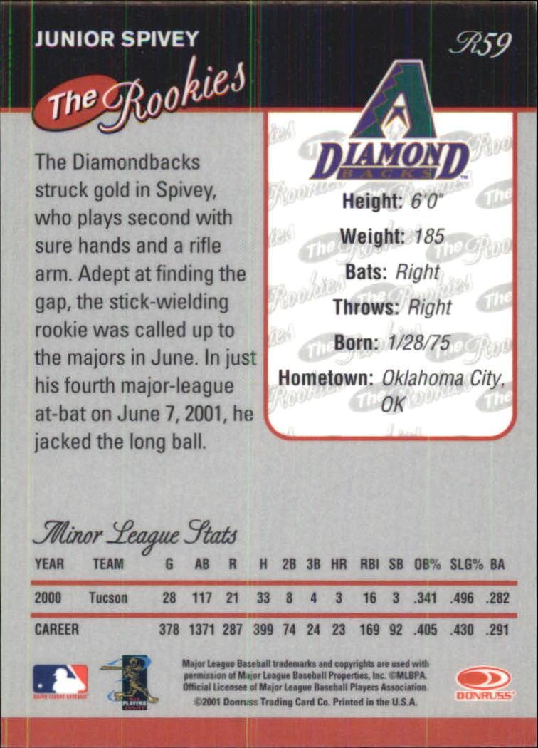 2001 Donruss Baseball's Best Bronze Rookies #R59 Junior Spivey back image