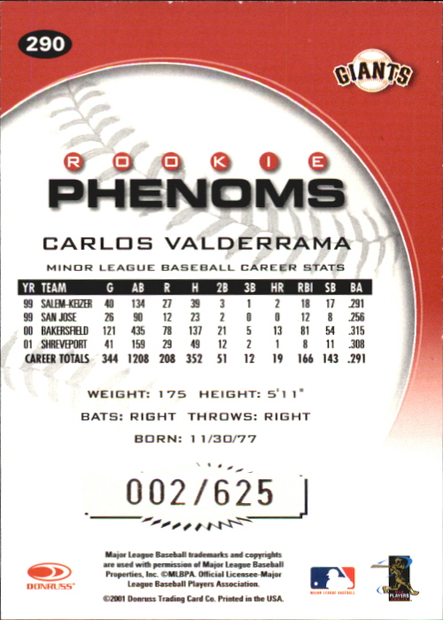 2001 Donruss Class of 2001 Rookie Autographs #290 Carlos Valderrama PH/200 back image