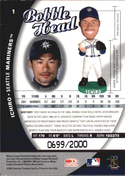 2001 Donruss Class of 2001 BobbleHead Cards #1 Ichiro Suzuki back image