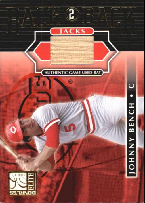 2001 Donruss Elite Back 2 Back Jacks #BB17 Johnny Bench SP/50