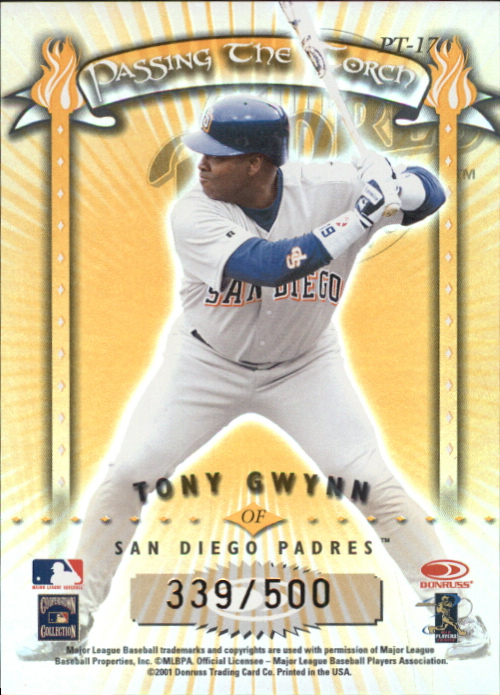 2001 Donruss Elite Passing the Torch #PT17 S.Musial/T.Gwynn back image