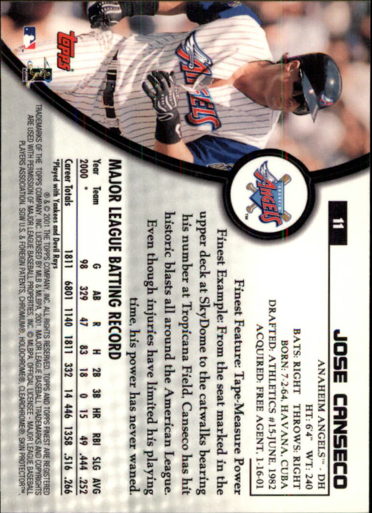 2001 Finest #11 Jose Canseco back image