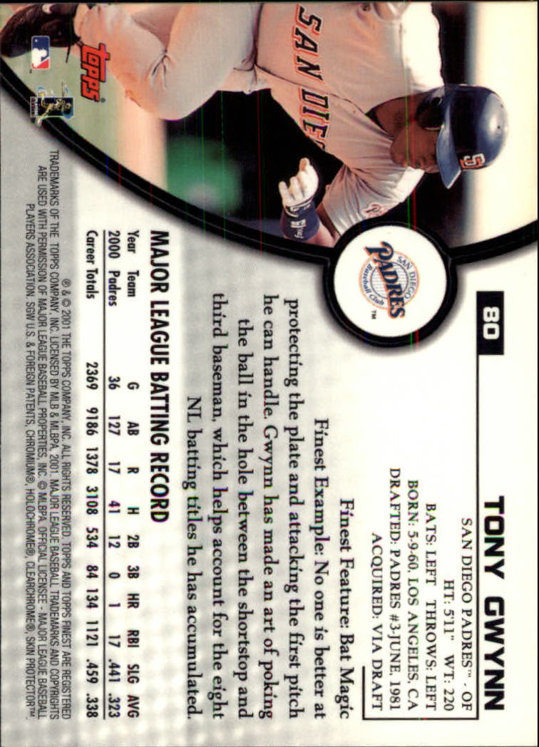 2001 Finest #80 Tony Gwynn back image