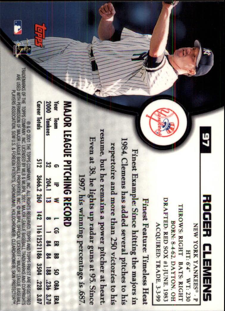 2001 Finest #97 Roger Clemens back image