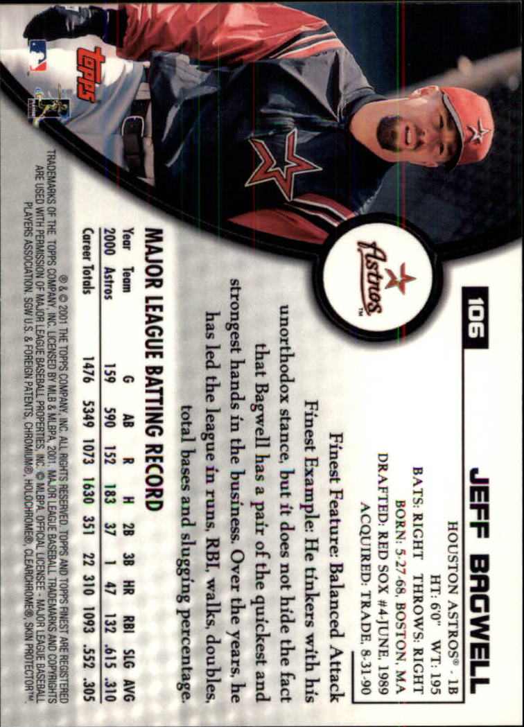 2001 Finest #106 Jeff Bagwell back image