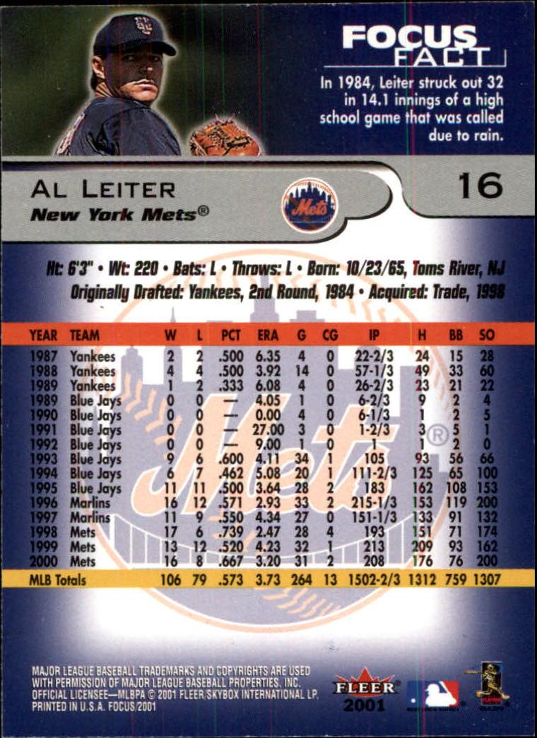 2001 Fleer Focus #16 Al Leiter back image